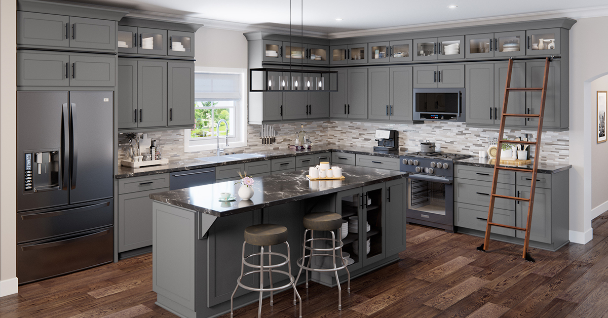 Dark cabinets in an open format, newly remodeled kitchen.