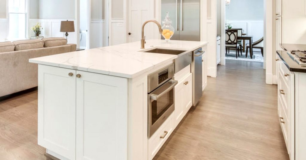 Kitchen island with lots of cabinet storage space.