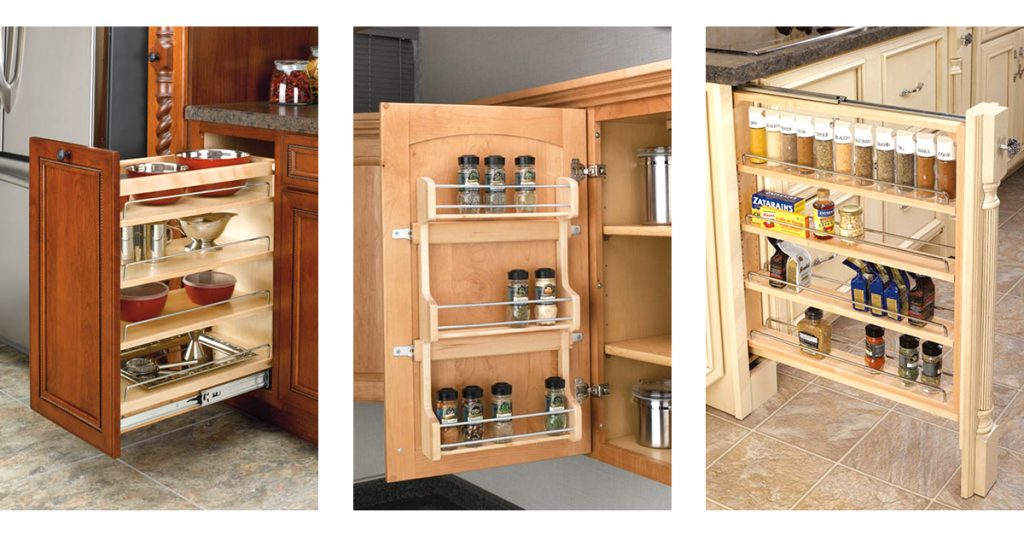 Cabinet organizers for the kitchen including spice rack, pull out cabinets, and back of door racks.