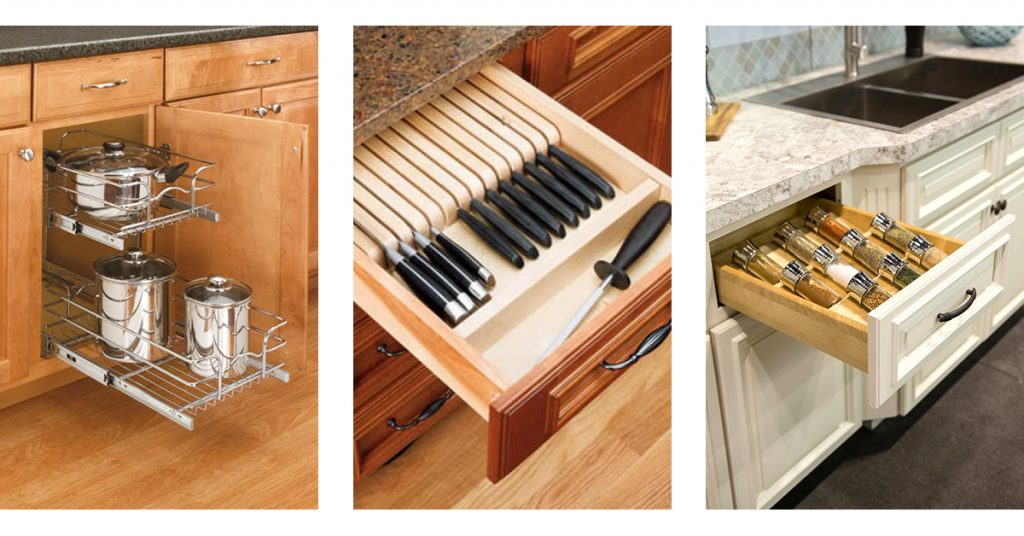 Cabinet and drawer organizers to increase organization and storage space.