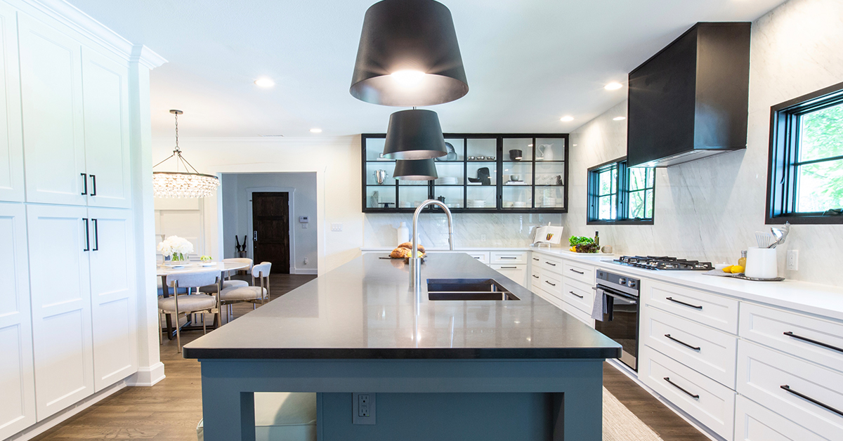 A transitional kitchen layout offers both great functionality and design aesthetic.