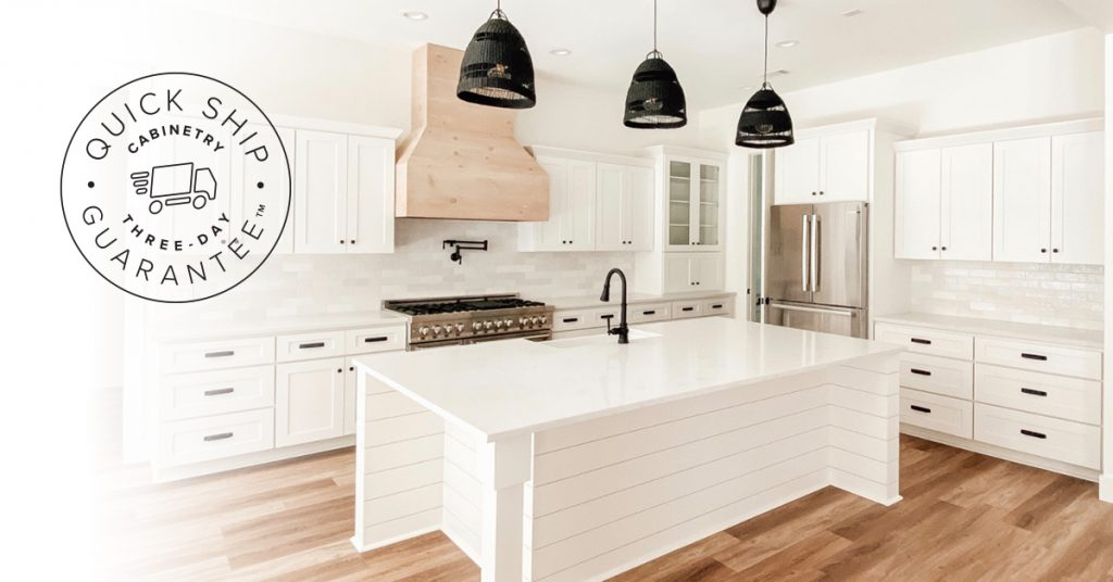 White kitchen with white quick-ship cabinets guaranteed to ship out in three days or less.