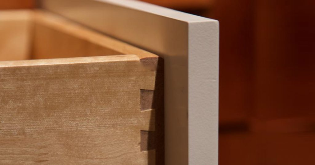 Open drawer showing dove tail joinery.