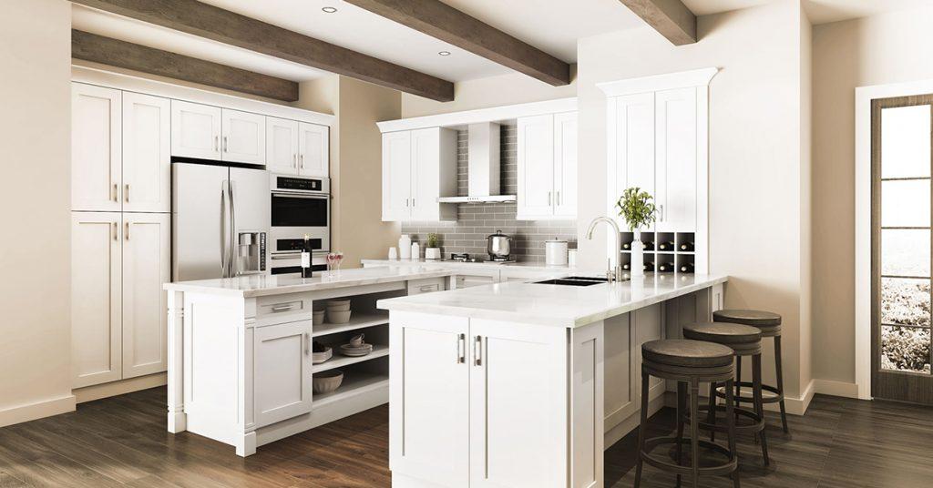 White kitchen cabinets in a u-shaped kitchen.