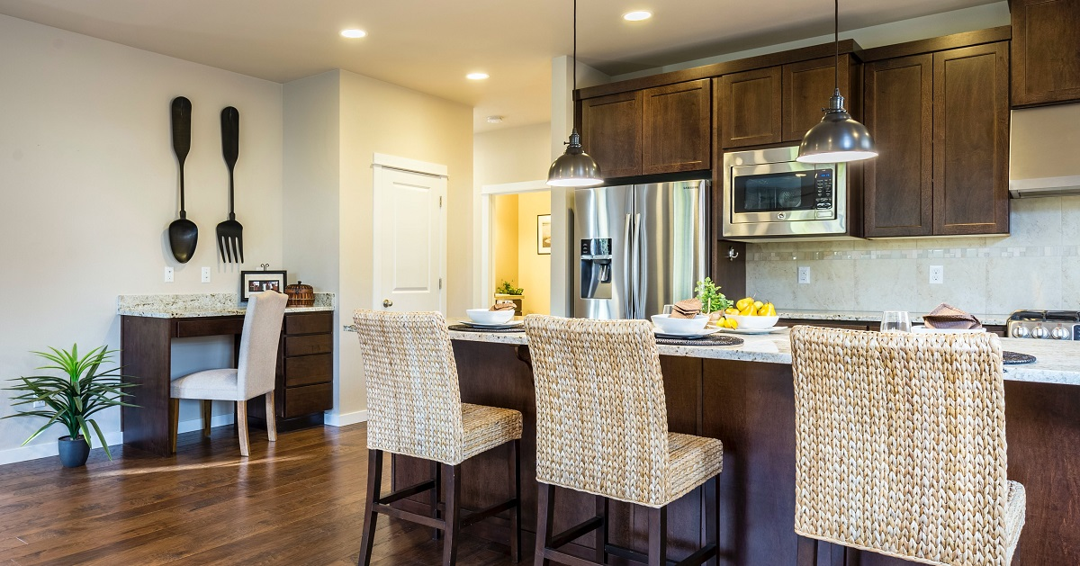 Natural wood kitchen cabinets are on trend.
