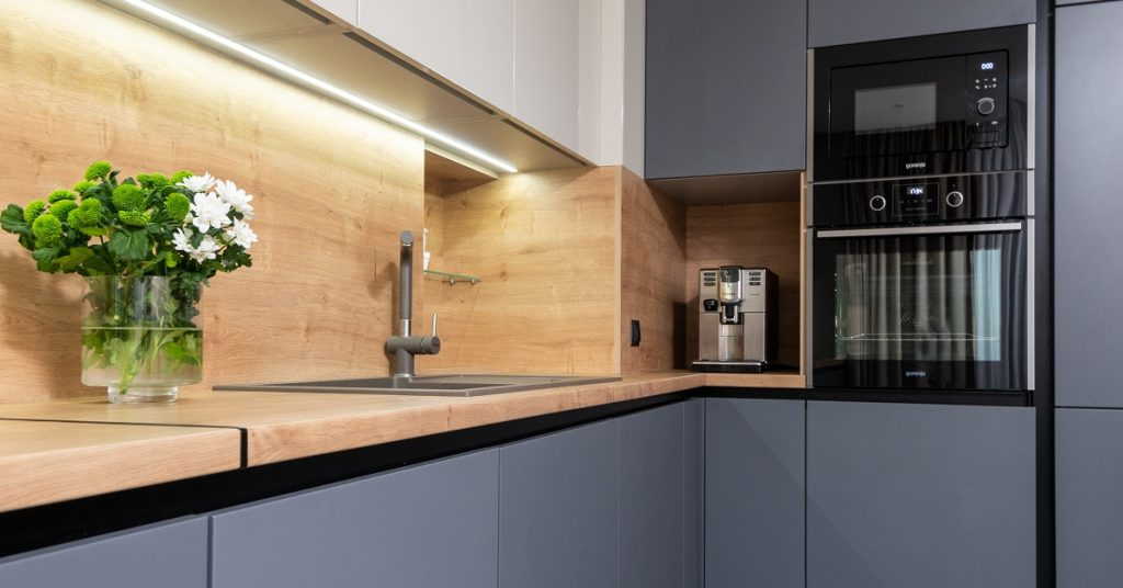 Under cabinet lighting is not only functional but on trend.