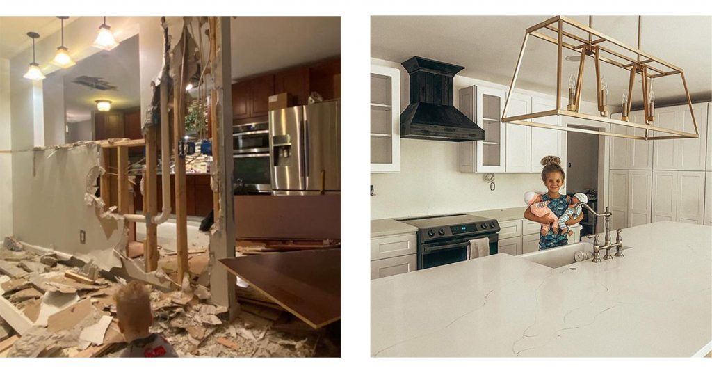 Before and after kitchen transformation.
