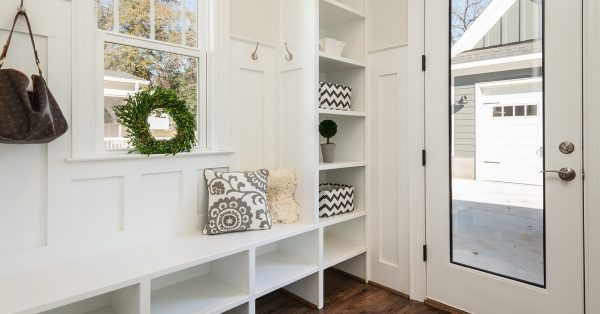 Mudroom command center built with repurposed cabinets.